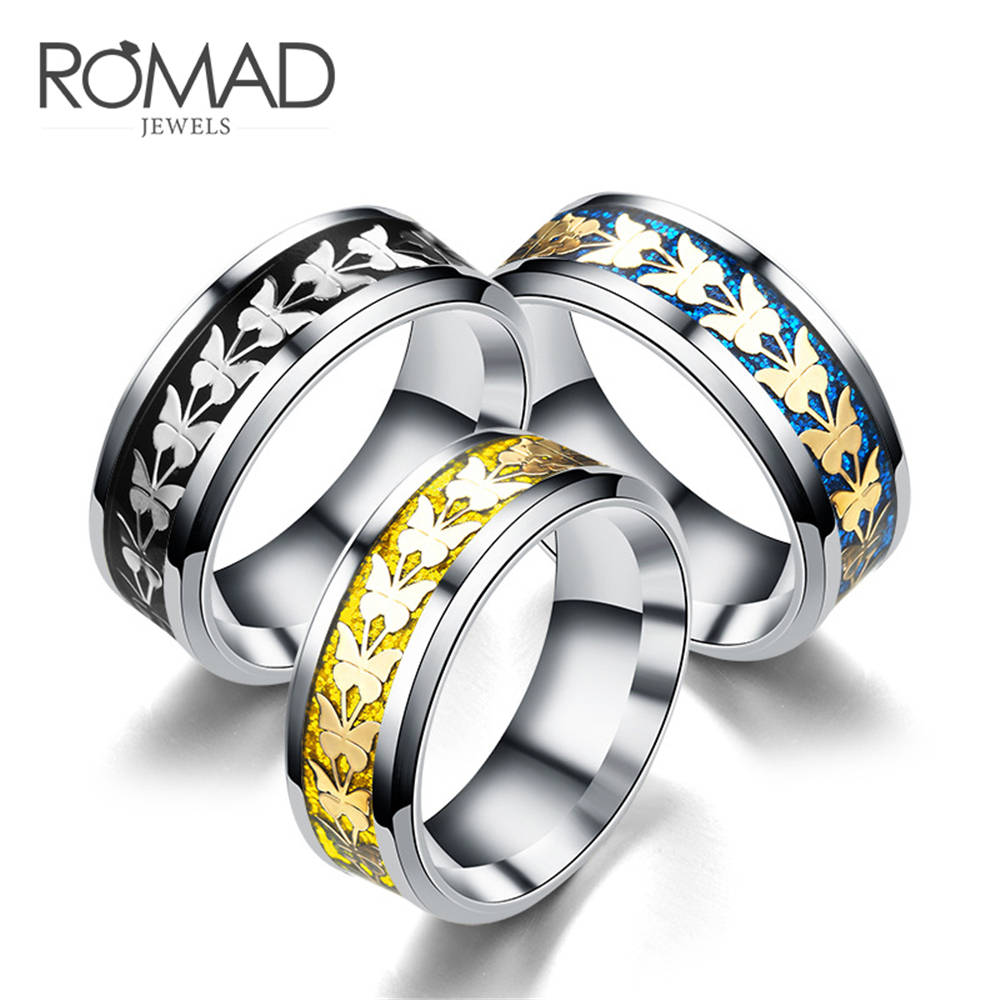 Ring Women Stainless-Steel Jewelry Bague Vintage Anillos Totem Butterfly Mujer Z4