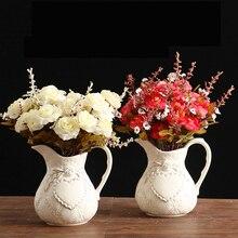 European Ceramic vase creative fashion ceramic with handle single ear for flower home decoration beige milk jug