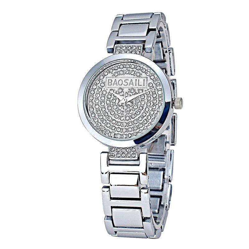6363712f7f1 BAOSAILI Top Marca de Moda Bling Bling Cristal Relógios de Luxo Cristal De  Quartzo Analógico Mulheres Diamante Relógios Senhoras Relógio BS-993