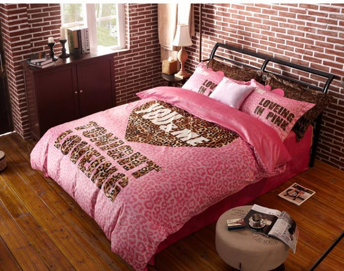 Winter Worm Velvet Fleece Comforter Sets Pink Leopard