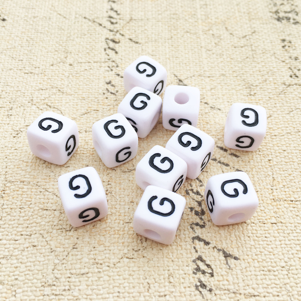 Beads Beads & Jewelry Making Mini Order 100pcs Sing Letter G Printing White Acrylic Alphabet Beads 10*10mm Cube Square Diy Knit Initial Name Bracelet Beads Let Our Commodities Go To The World