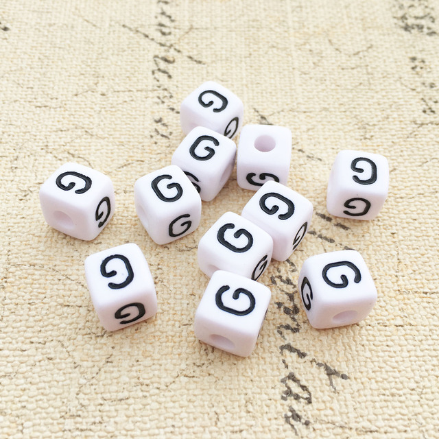 mini order 100pcs sing letter g printing white acrylic alphabet