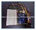 3 em 1 Acrílico Plataforma Experimental Placa para Arduino UNO R3 + 400 Buraco Solderless Placa De Ensaio + kit UNO R3 DccDuino + 65 x pão
