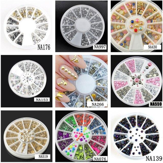 Hurtownie Hot 9 Style Glitter Nail Art Porady Dekoracje Kryształ Ab Rhinestone Paznokci Narzędzia Z Kołem NA153