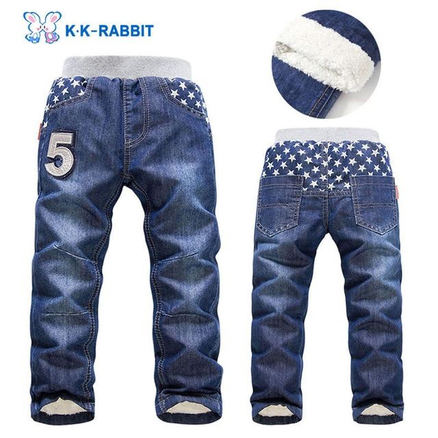 High quality KK-RABBIT Winter Thick Kids Boys Baby Pants Children Jeans