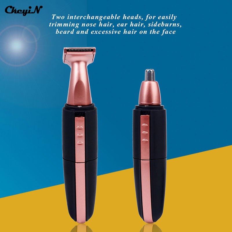 2 in 1 Multifunctional Electric Nose Ear Beard Hair Razor Trimmer for Men Eyebrow Cutter Personal Groomer Set Face Care with LED multifunctional electric shaver bikini eyebrow trimmer for women