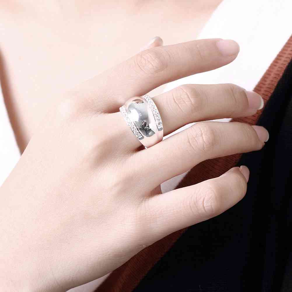 Thumb ring Silver plated Rings For Women Man Invisible Setting CZ ...