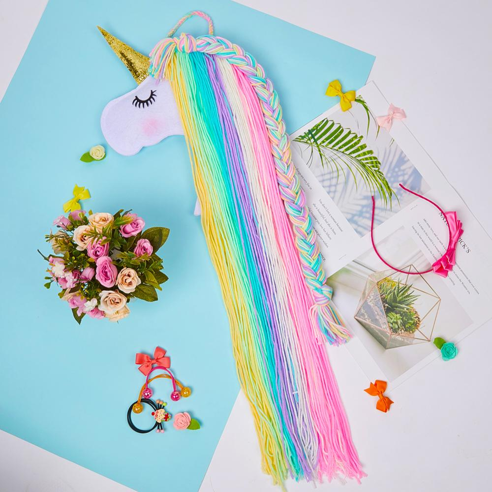 Fioday Unicorn Hanging Storage Belt For Girls Hair Clips Barrette Hairband Organizer Strip Holder Tools For Hair Accessories