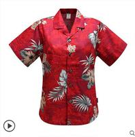 Lovers Casual Hawaiian Leisure Print Loose Shirt Men Women Cotton Short Sleeves Beach Resort Shirts