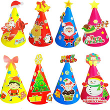 10 pcs / lot DIY Merry Christmas hat for kids Cute Children novelty funny Santa Claus Snowman Caps handcraft Creative Gifts