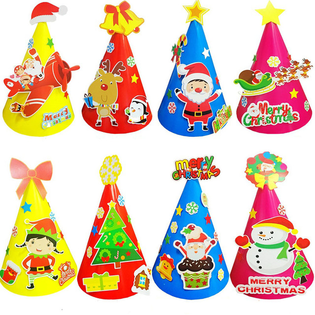 10 pcs / lot DIY Merry Christmas hat for kids Cute Children novelty ...