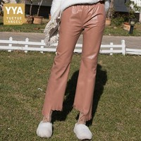 Spring Sheep Skin Slim Pants Leather Tassel Flare Pants Women Natural Sheepskin Real Leather Solid Ankle Length Lady Trousers