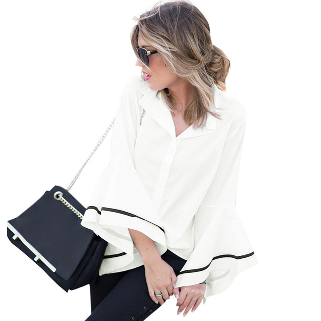 f10ccc03154d7 XXXL XXXXL 5XL Plus Size Womens Tops and Blouses Flare Sleeve Contrast  Stripe Shirt Turn Down