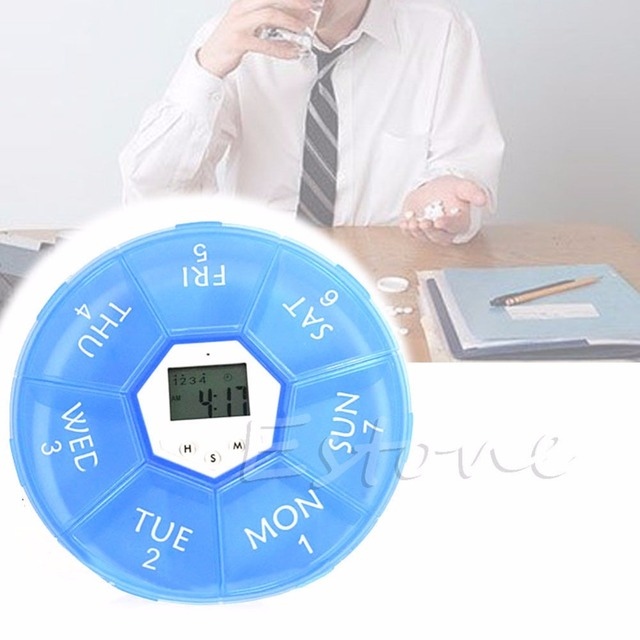 New 2017 Weekly Digital Timer Round 7 Days Pill Box Case Alarm Clock Reminder Medicine Hot Sale  sc 1 st  AliExpress.com : weekly pill box with alarm - Aboutintivar.Com
