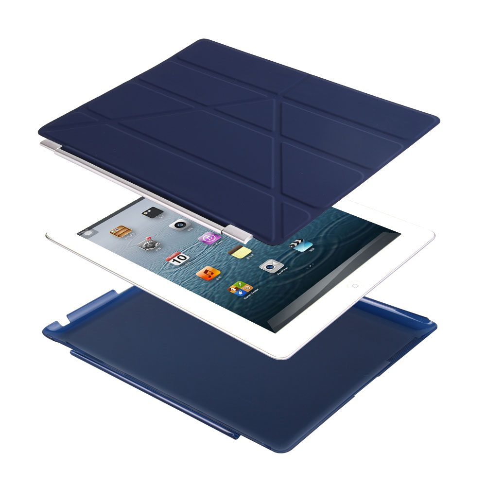 Case For Ipad 4 3 2 (2011/2012), Color PU Leather+Ultra Slim Light Weight PC Back Cover Case For Ipad 2 Ipad 3 Ipad 4