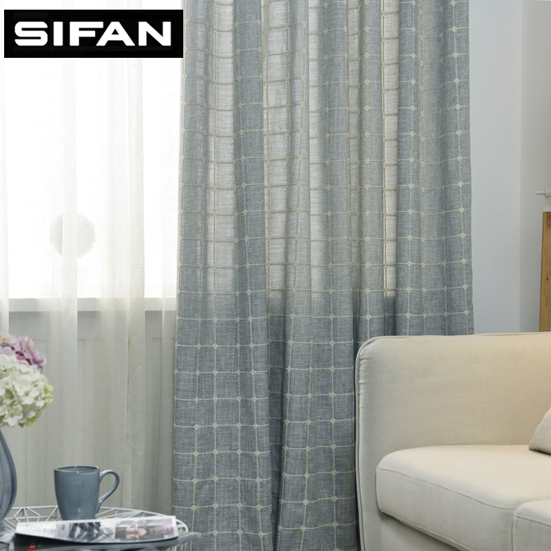 New Japan Style Thick Faux Linen Square Jacquard Modern Curtains For Living Room Bedroom Kitchen Window Curtains Blinds