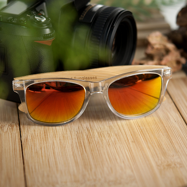 BOBO BIRD Clear Color Wood Bamboo Sunglasses