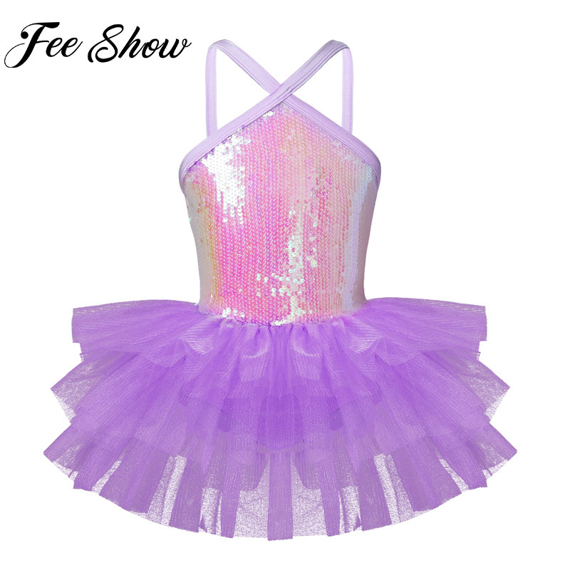 Girls Ballet Sequined Dress Kids Gymnastics Leotard Tutu Skirt Dancewear Costume