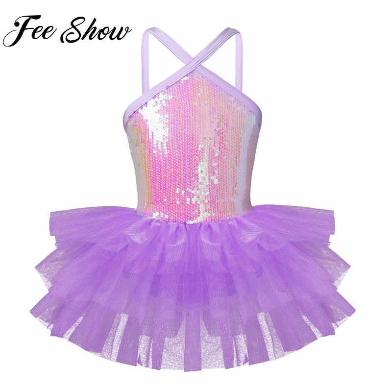 Kid Girl Latin Ballet Dance Dress Sequins Tutu Skirted Leotard Dancewear Costume