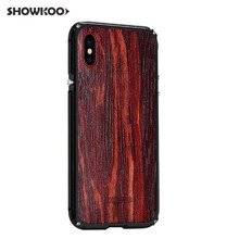 ФОТО showkoo for iphone 8 kevlar cnc machined metal aluminum wooden bumper back cover case