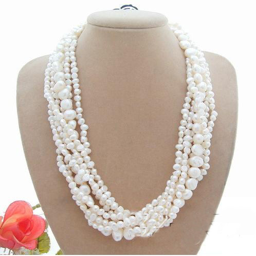 Perfect Handmade Luck Pearl Jewellery,White Color Baroque Genuine Freshwater Pearl Necklace,Shell Flower Clasp цена и фото