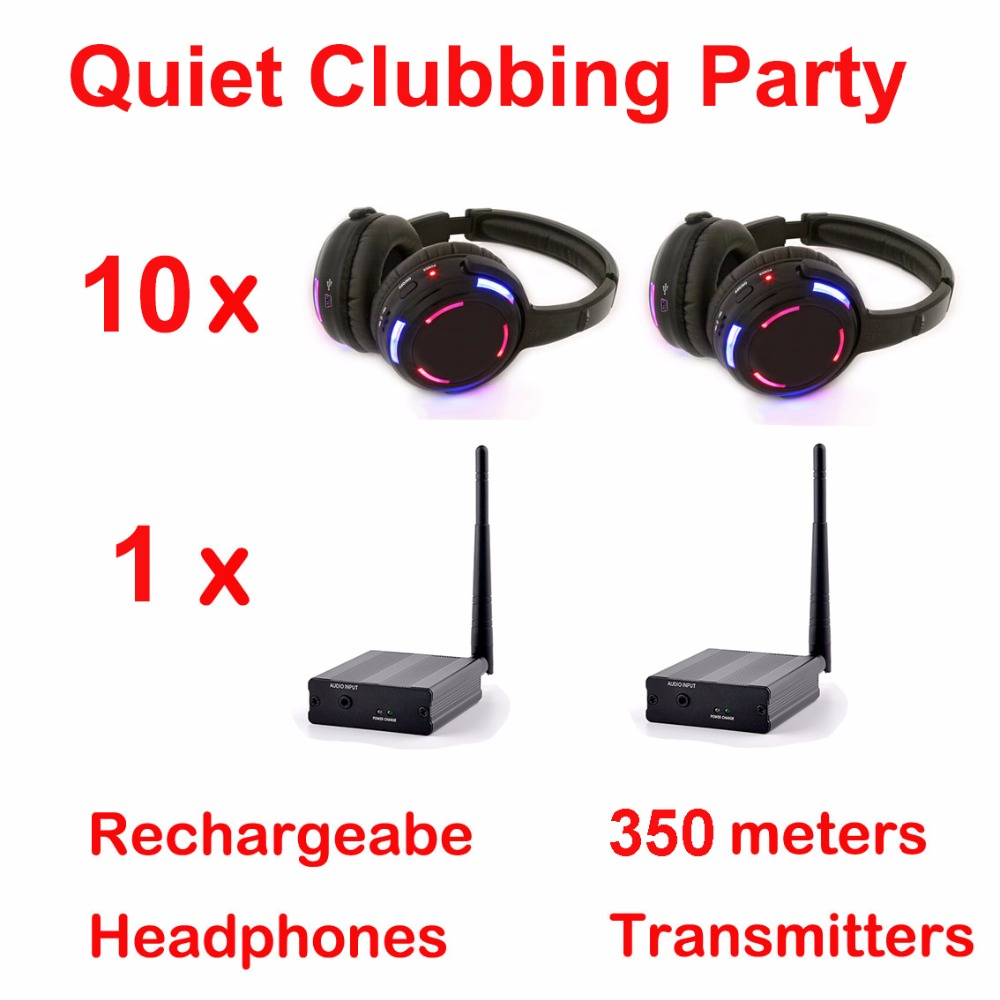 Silent Disco system led wireless headphones - Quiet Clubbing Party Bundle (10 Headphones + 1 Transmitter) цены онлайн