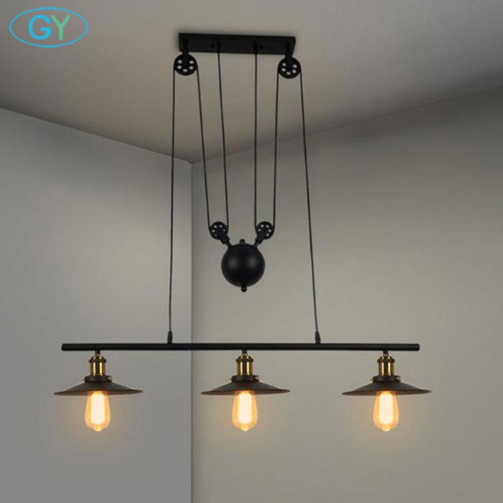 New Lifting pendant lights D22cm black lanpshade lamp Modern minimalist Pulley pendant lamps lustre pendente de teto