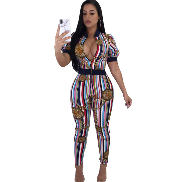 Body Suits For Women Zipper Up Deep V Neck Chain Print Striped Jumpsuit Disfraz Sexy Bodysuit Bodycon Romper Body Femme
