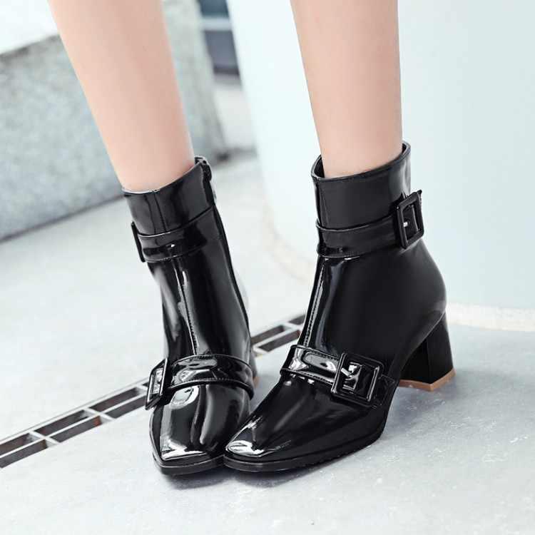 Большие размеры 9, 10, 11-13; ботинки; женская обувь; ботильоны для женщин; женские ботинки с боковой молнией и пряжкой на ремешке