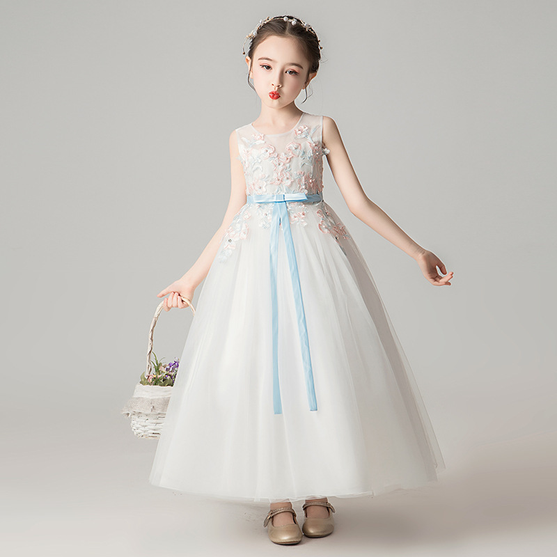 Lovely   Flower     Girl     Dresses   Ball Gown Floral Appliques O-Neck Bow Sashes Primera Comunion Sweet Summer   Dress   2019 Vestido Flores