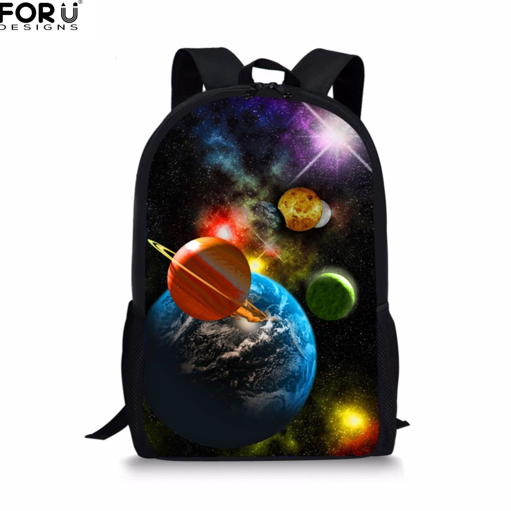 FORUDESIGNS Fashionable Canvas Book Bags Kids 3D Galaxy Space Star Printing Student School Bags Casual Bagpack for Girls Bolsa
