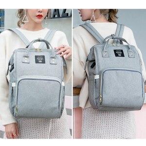 Image 4 - Moda mumya analık bez torba büyük kapasiteli bebek çantası seyahat sırt çantası hemşirelik çantası bebek bakımı için USB arayüzü ile