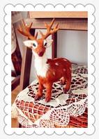 21x17cm Simulation Sika Deer Model Toy Christmas Deer Polyethylene Furs Handicraft Decoration Baby Toy D234