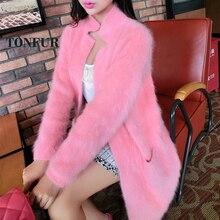 Чистый норковый кашемир длинное пальто Женская мода натуральный норковый кашемир натуральный мех куртка OEM свитер DFP941
