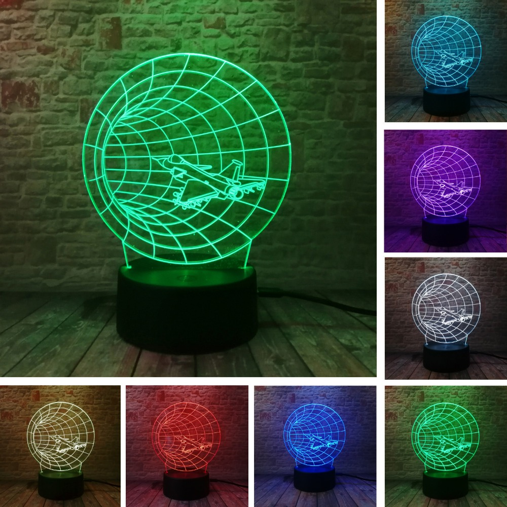 Amazing 3D Time Machine Νυχτερινό φως Αεροπλάνο Κέρας Φακός διάθεσης σχήμα 7 Χρώμα αλλαγή κλίση Φίλος Οικογένεια παιδί γενέθλια Χριστουγεννιάτικο δώρο