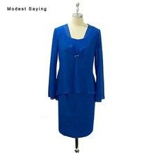 Elegant Sheath Blue Lace Mother of the Bride Dresses 2017 Long Trumpet Sleeves Jacket Bolero Knee