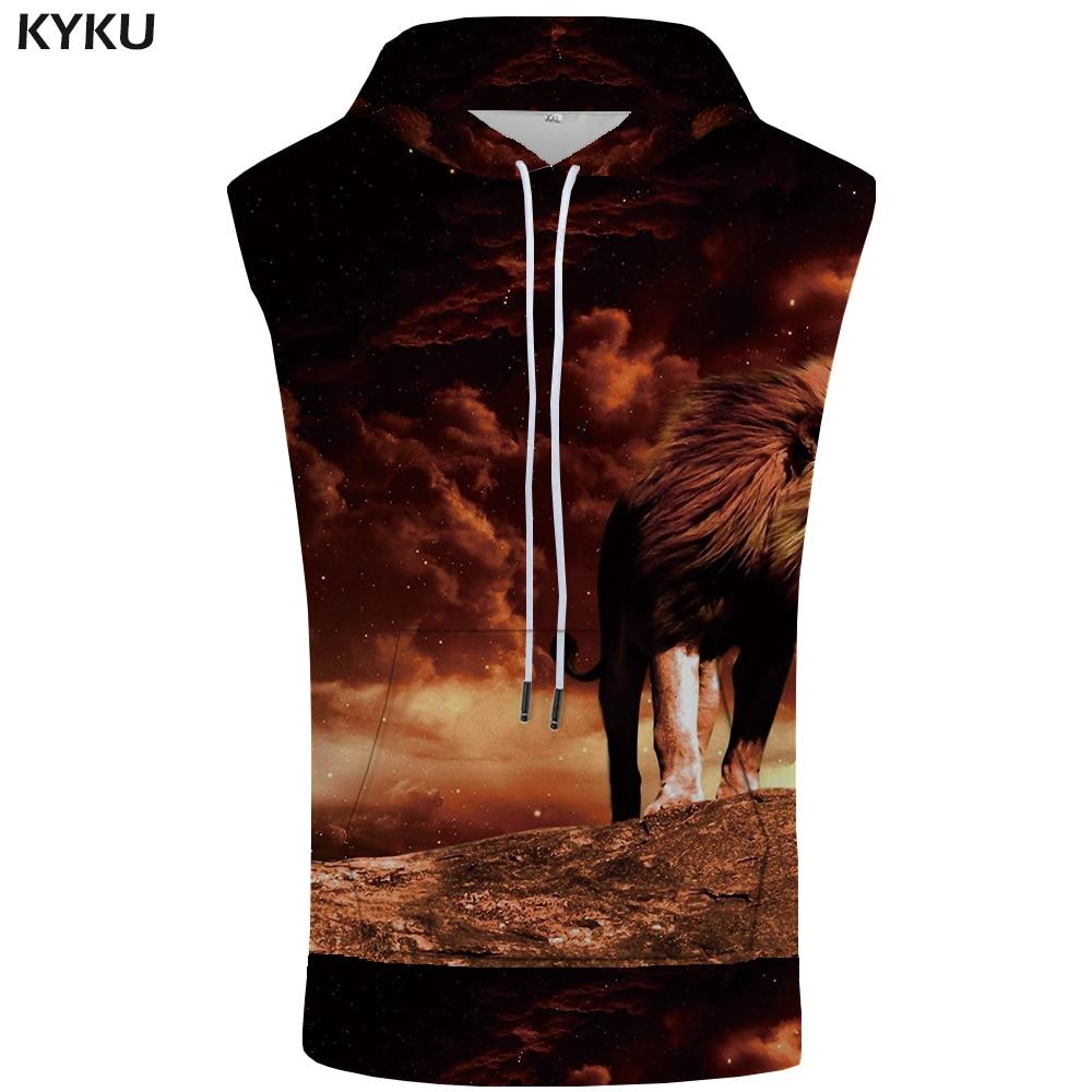KYKU Lion Hooded   Tank     Top   Men Animal Vest Stringer Mountain Space 3d Printed Sleeveless Sweatshirt Cloud Fitness Mens Clothing