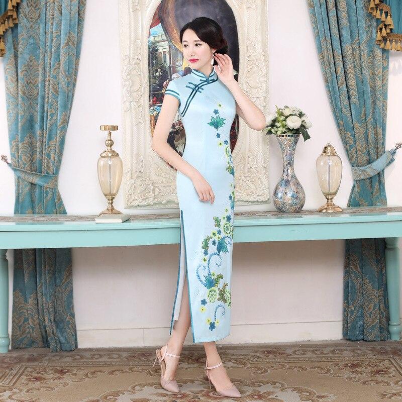 c0195 Mandarin Qipao Col Long De Cheongsam C0192 c0193 Vintage c0194 Sexy Imprimer Traditionnelle Chinoise Mince c0197 Nouveauté Robe Élégante Fleur Femmes Satin YDHIWE29