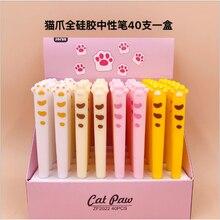 40 Pcs Kawaii Gel Pens Cartoon Cat Claw Black Gel Ink Pens Pens for Writing Cute Stationery Office School Supplies 0.5mm