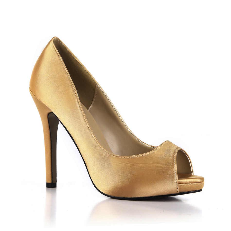 CHMILE CHÂU Cưới cô dâu Bơm Nữ Peep Mũi Nhọn Cao Gót Zapatos Para Mujer de Tacon Alto de Aguja Punta abierta T12