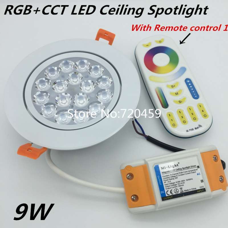 9W Mi.Light 2.4G RGB+CCT LED Ceiling Spotlight Dimmable AC86-265V Round Reccessed Light For Bathroom RGB ceiling light <font><b>FUT092</b></font> image