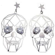 Punk Stijl Metallic Hollow Vrouwelijke Schedel Gezicht Crystal Eyes Earring Gothic Sterren Oorbellen Sieraden Dropshipping
