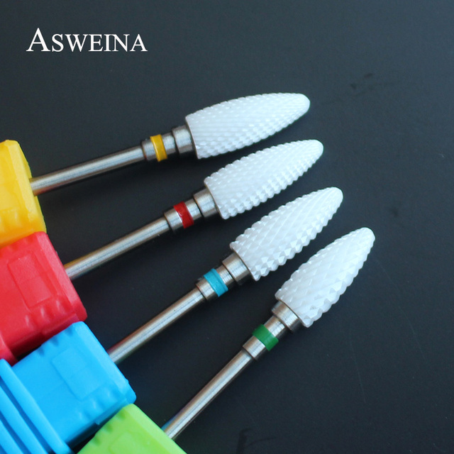 ASWEINA Ceramic Cuticle Clean Burr Nail Drill Bit Rotary Mills Cutter Electric Manicure Pedicure Nail Drill Machine Accessories