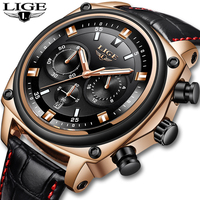 LIGE Chronograph Men Watch Relogio Masculino Gold Leather Business Quartz Watch Clock Men Creative Army Military Wrist Watches