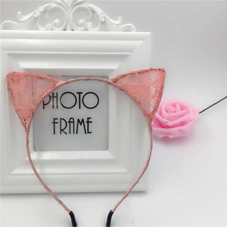 MOONBIFFY 1 ชิ้นฤดูร้อนใหม่สไตล์ลูกไม้แมวหู Headband Hairband เจ้าหญิงอุปกรณ์เสริมผม Headwear เซ็กซี่น่ารัก