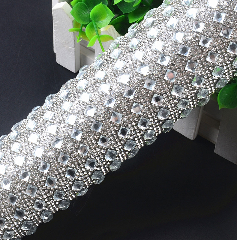 High Quality 24 40cm Rhinestone Trim Clear Square Crystals Hotfix Mesh  Glass Beads Appliques Iron On Strass Wedding Decoration ea7c557c6b6e