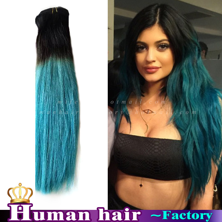 Rosa Ombre Hair Extensions Three Tone Blackteal Brazilian Cabelo
