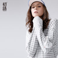 Toyouth Basic T Shirts Casual Striped T Shirt For Women Spring Letter Embroidery Tee Shirts Long