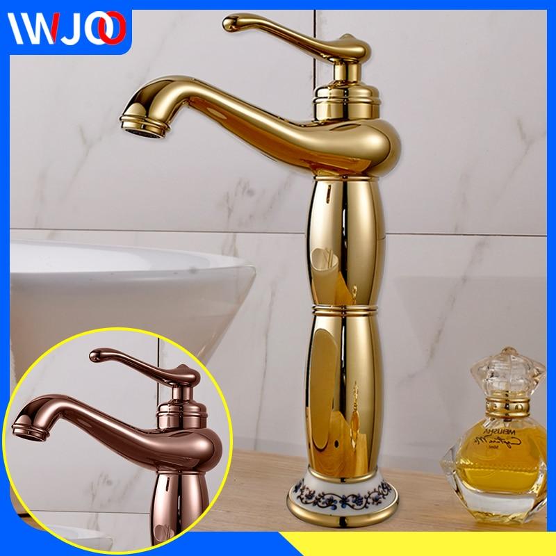 gold brass single handle bathroom