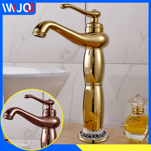 цена на Basin Faucet Modern Bathroom Faucet Gold Brass Tall Single Handle Hole Cold and Hot Water Tap Deck Mounted Sink Faucet Mixer Tap